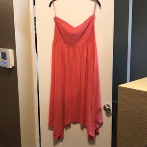 Strapless Torrid dress, salmon color.